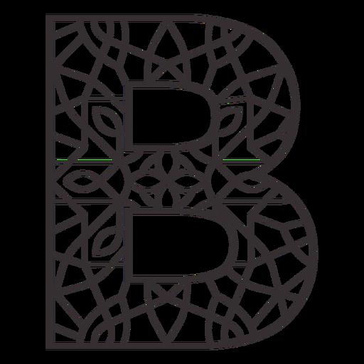 Alphabet letter b stroke mandala