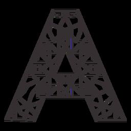 Alphabet letter a stroke mandala