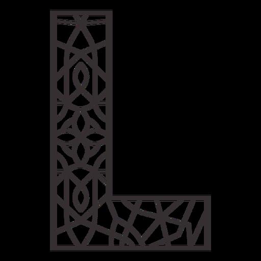 Alphabet letter l stroke mandala