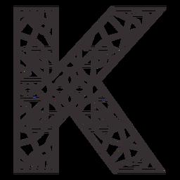 Alphabet letter k stroke mandala