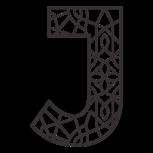 Alphabet letter j stroke mandala
