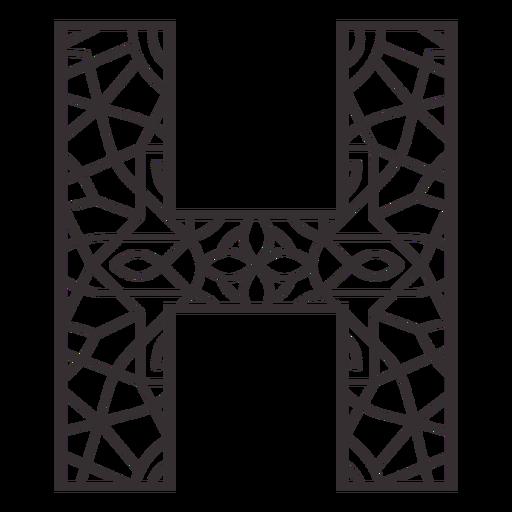 Alphabet letter h stroke mandala