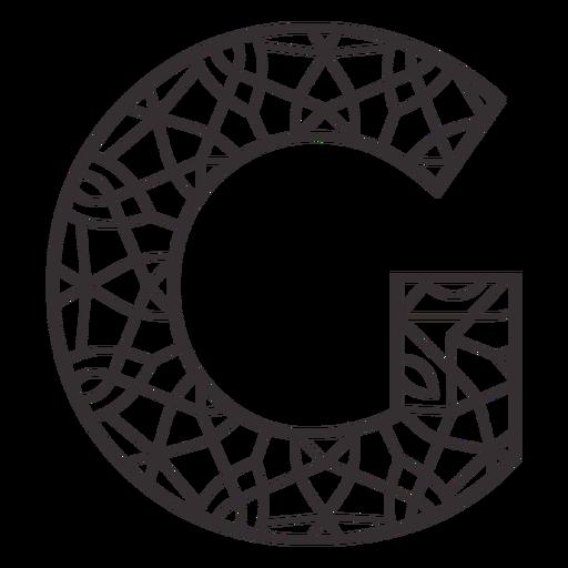 Alphabet letter g stroke mandala