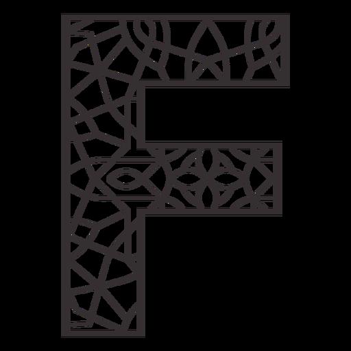 Alphabet letter f stroke mandala