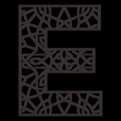 Alphabet letter e stroke mandala