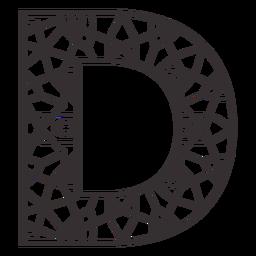 Alphabet letter d stroke mandala