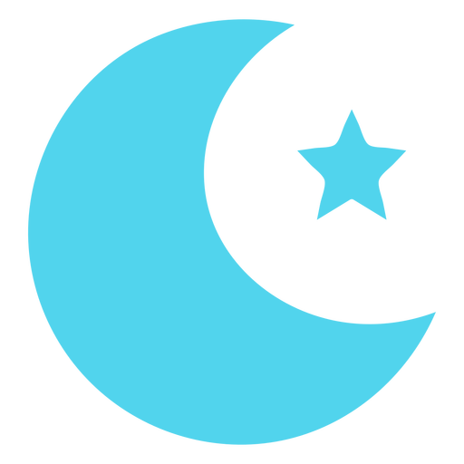 Moon and star flat icon