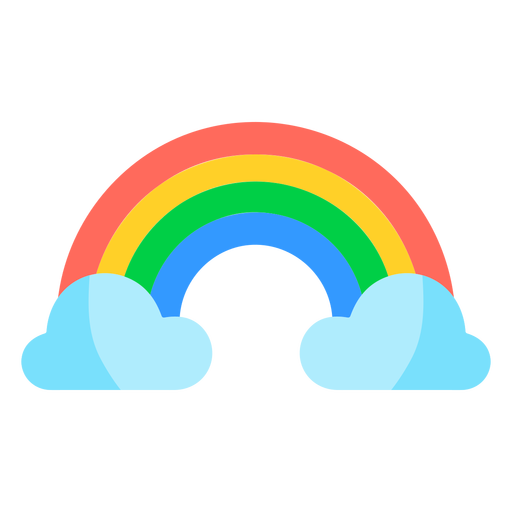 Colorful rainbow and clouds
