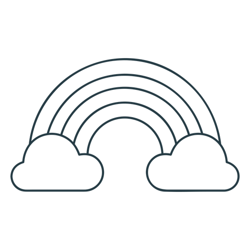 Rainbow and clouds icon stroke