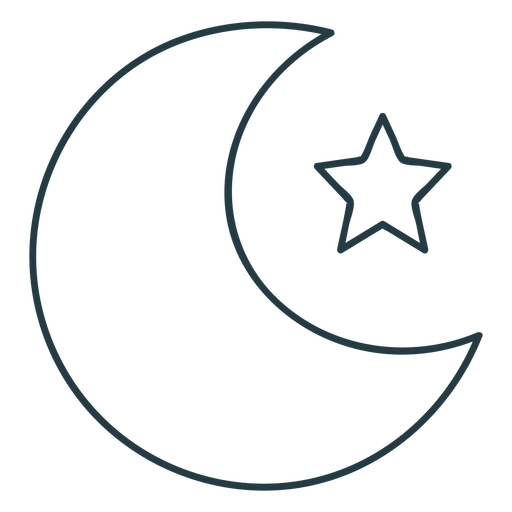 Moon and star stroke icon
