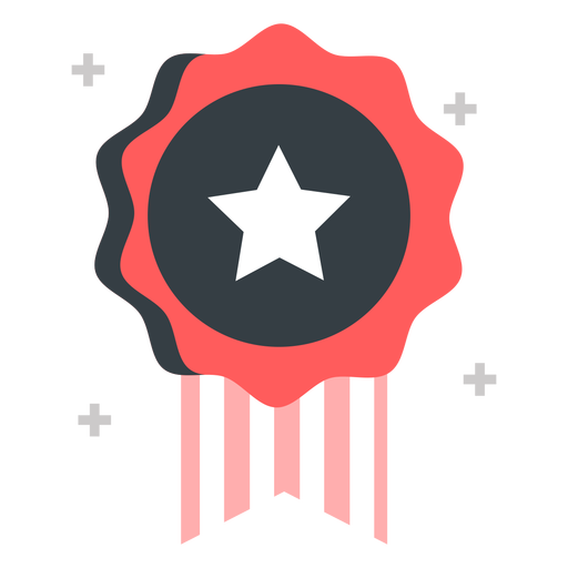 Badge with a star flat
