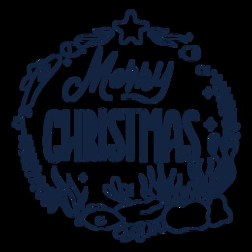Merry christmas filled stroke