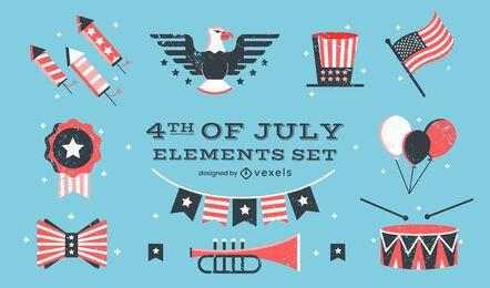 Conjunto de elementos de celebración americana del cuatro de julio