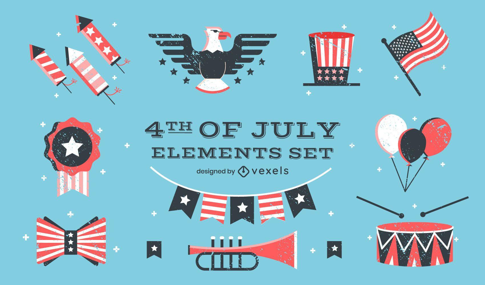 Conjunto de elementos de celebração americana de 4 de julho