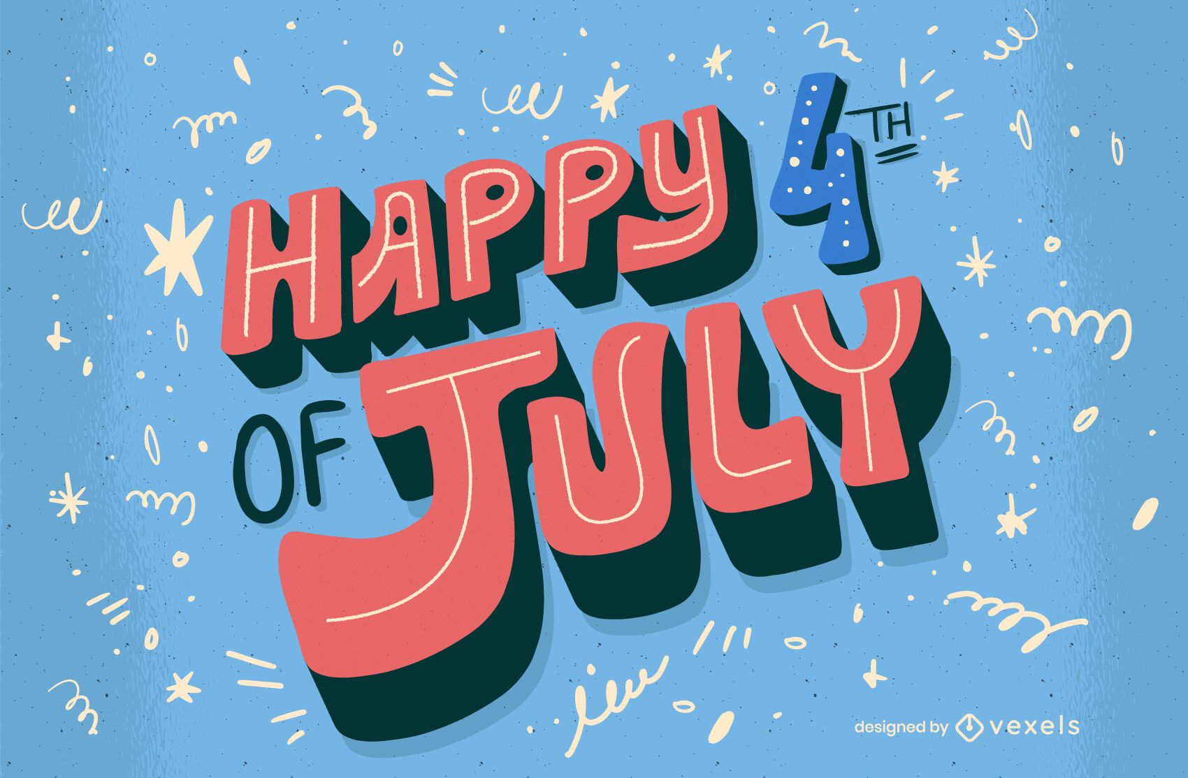 Happy fourth of july celebration lettering