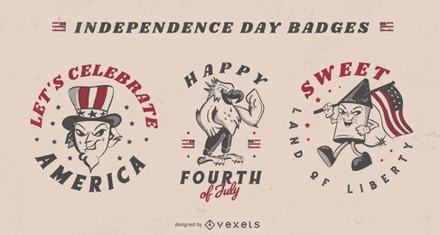 Fourth of july american celebration badges