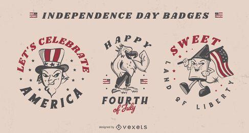 Insignias de celebración americana del cuatro de julio.