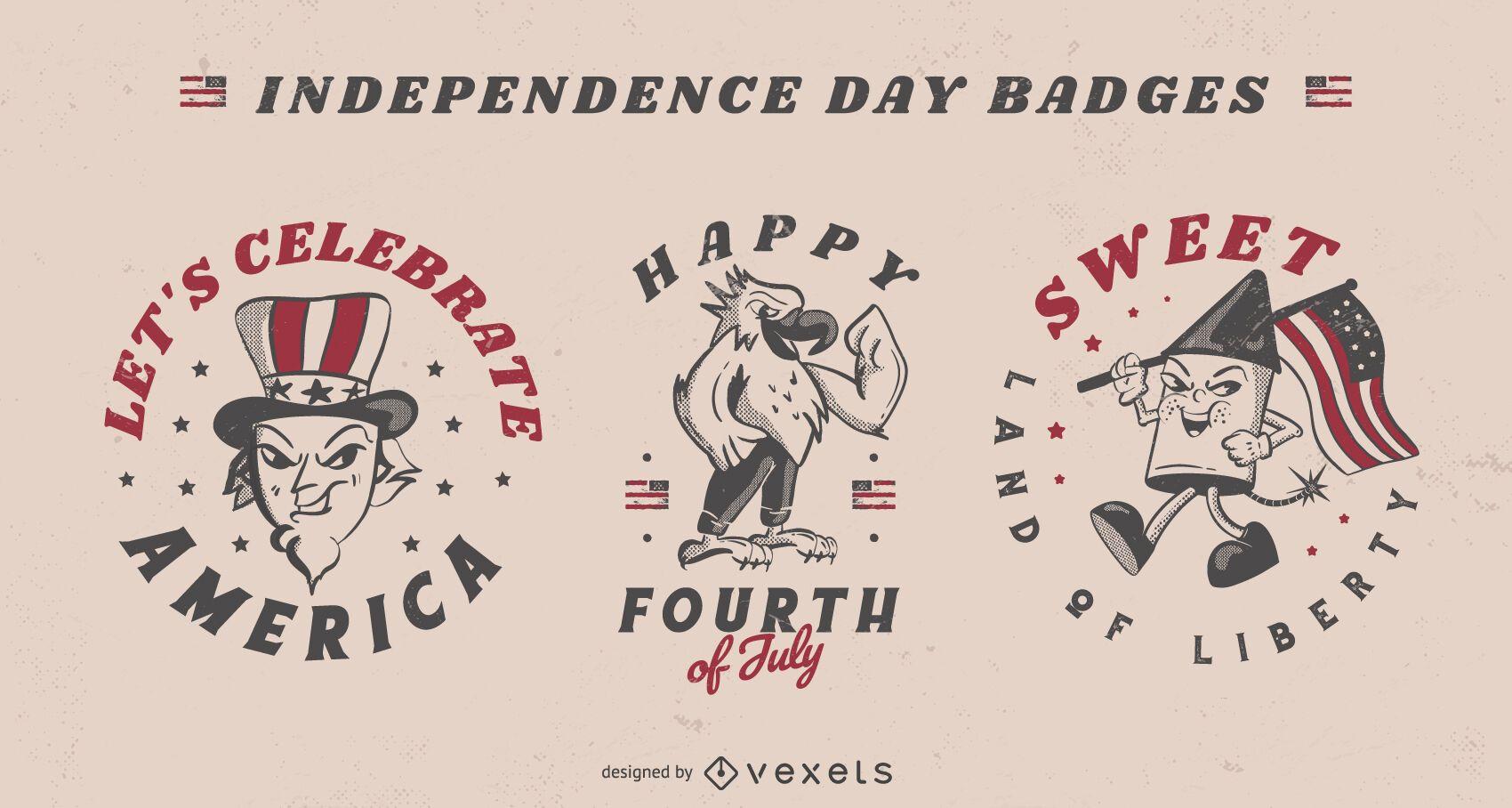 Emblemas de celebração americana de 4 de julho
