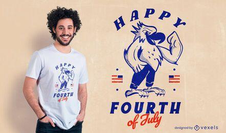 Diseño de camiseta feliz cuatro de julio