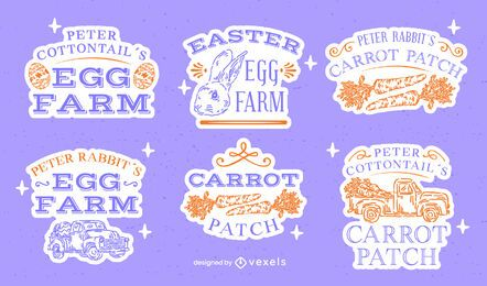 Easter egg celebration hand-drawn badge set