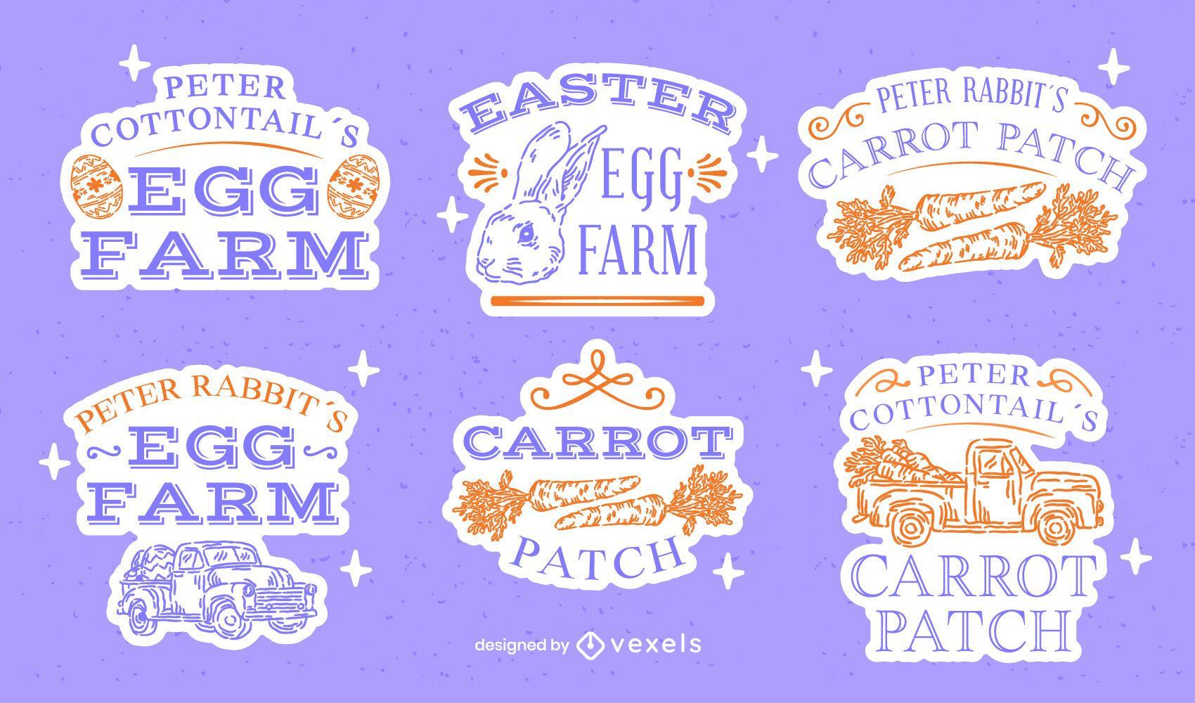 Conjunto de insignias dibujadas a mano de celebración de huevos de Pascua