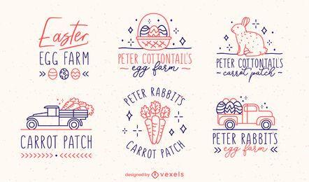 Conjunto de emblemas vintage para celebração de ovo de Páscoa