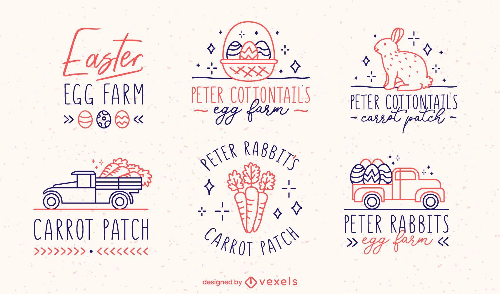 Easter egg celebration vintage badge set