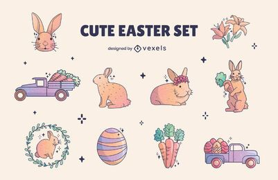 Conjunto de elementos de coelho fofo feriado de Páscoa