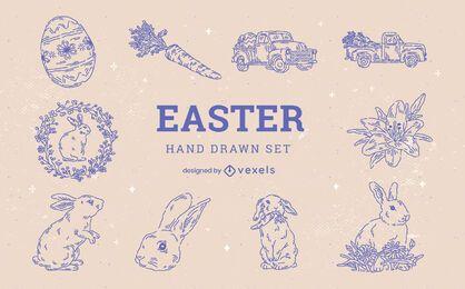 Conjunto de elementos de coelho desenhado à mão para o feriado da Páscoa