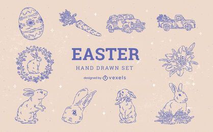 Easter holiday hand-drawn rabbit element set
