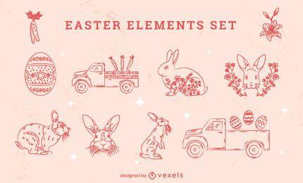 Conjunto de elementos desenhados à mão para o feriado da Páscoa