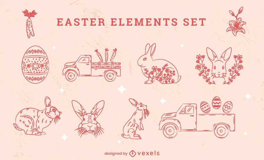Easter holiday hand-drawn element set
