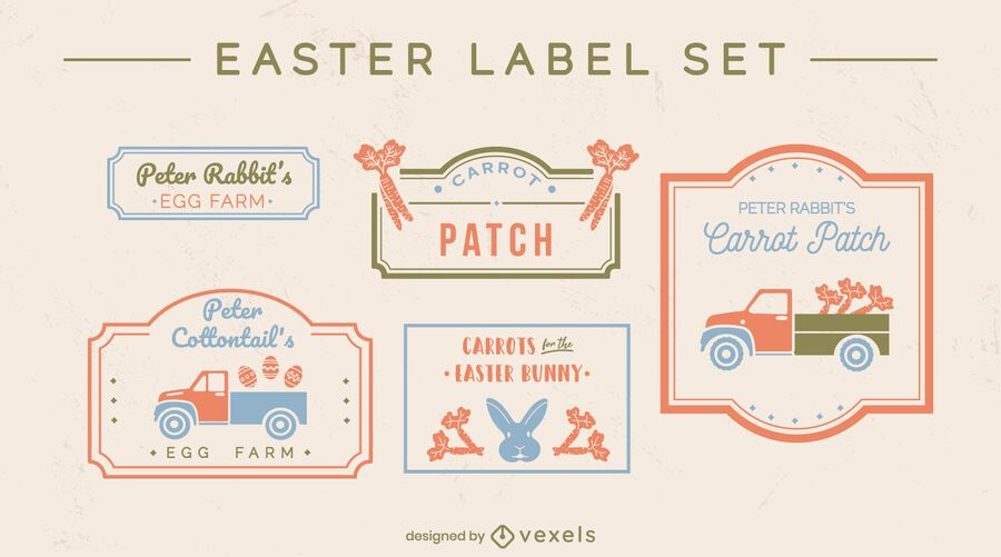 Easter holiday seasonal label set