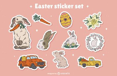 Easter holiday bunnies sticker set