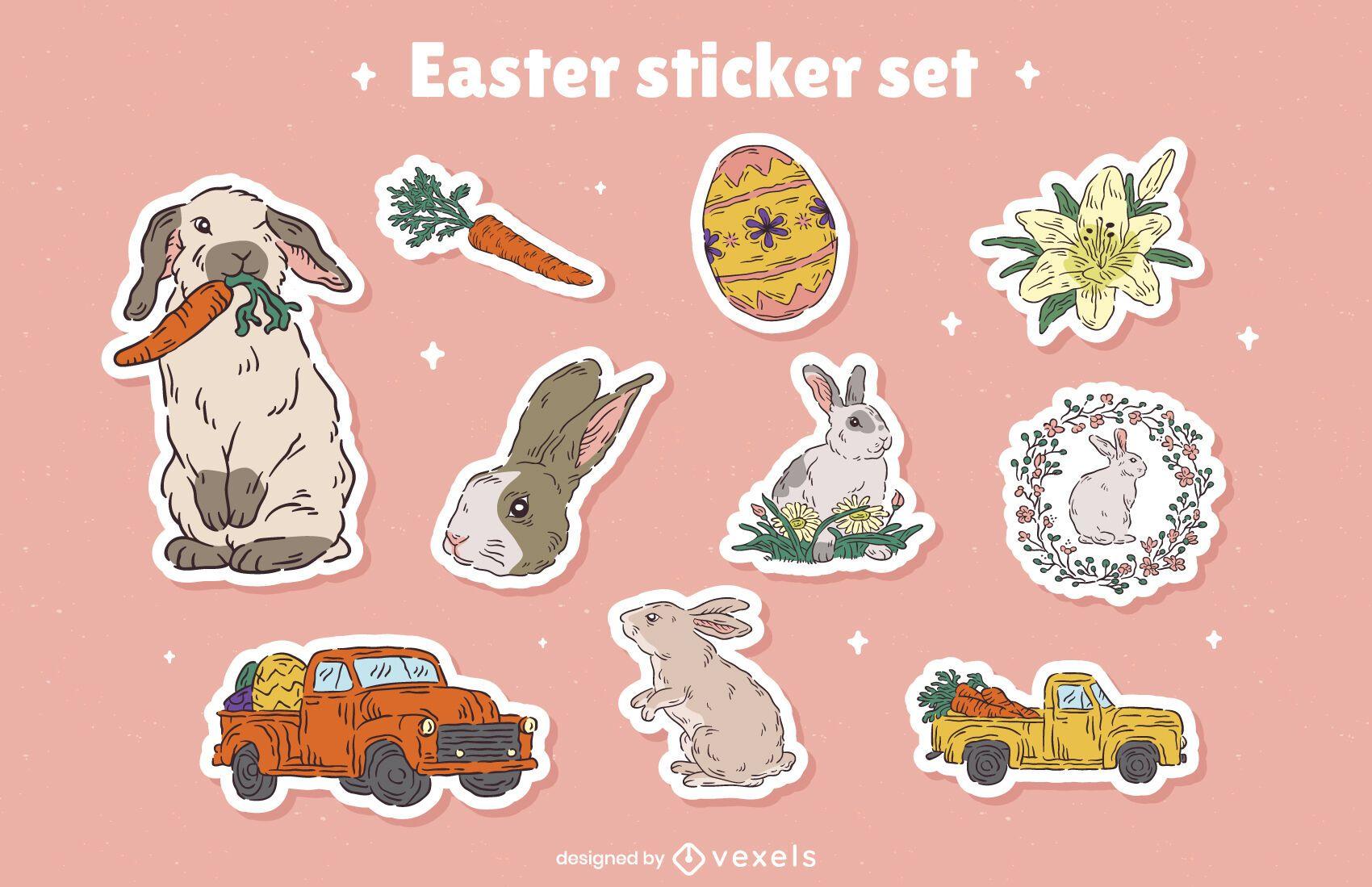 Conjunto de adesivos de coelhinhos do feriado da Páscoa