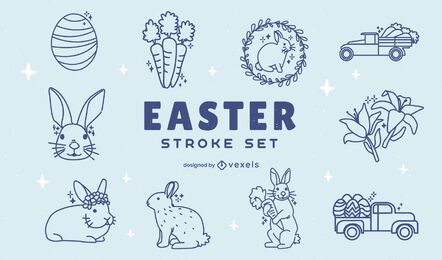 Easter holiday seasonal element set stroke