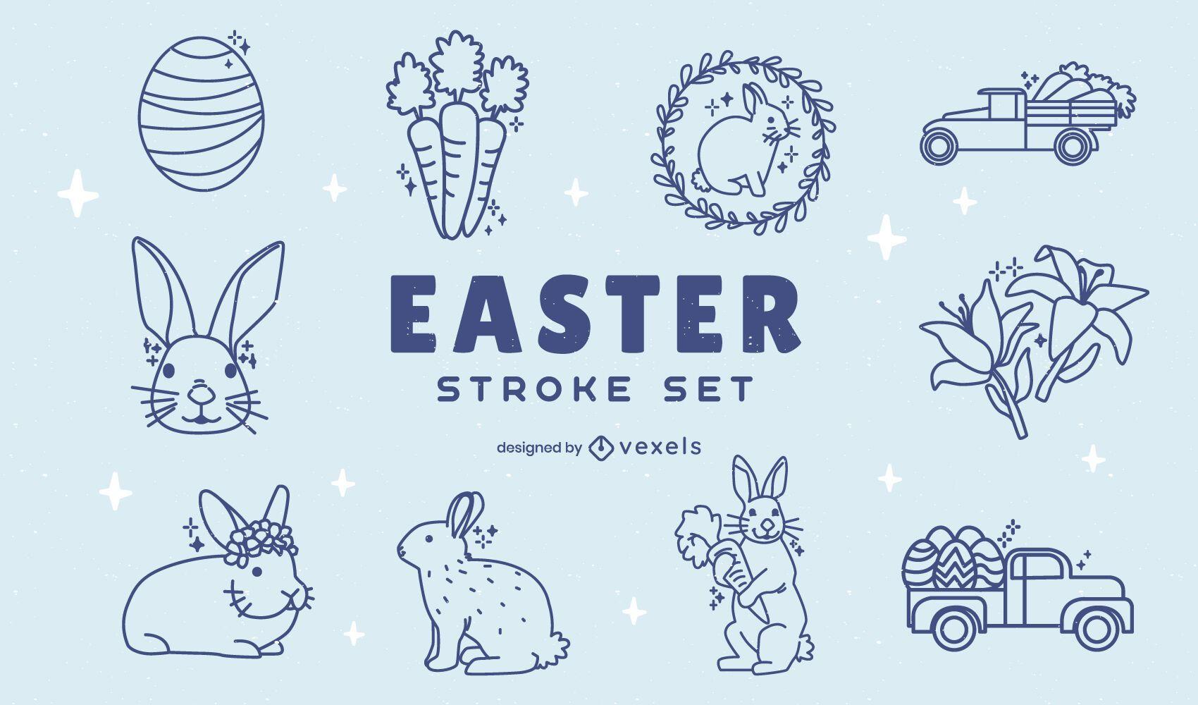 Easter holiday seasonal element set stroke