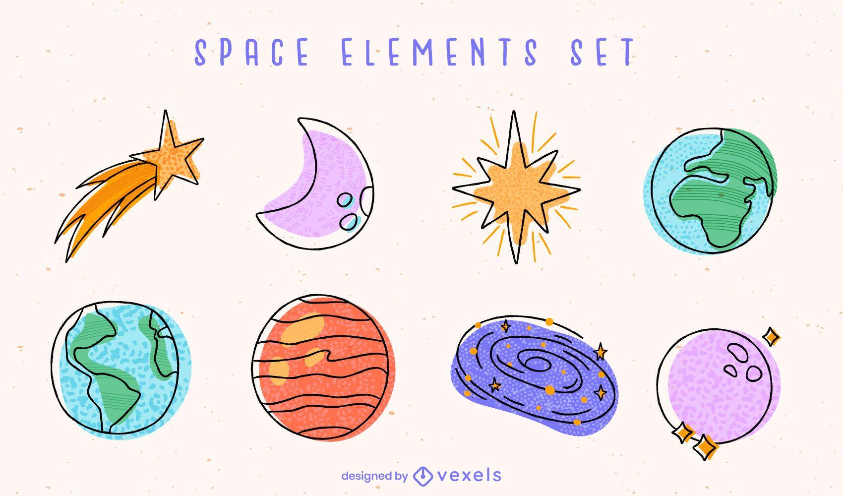 Conjunto de doodle de elementos coloridos de planetas espaciales