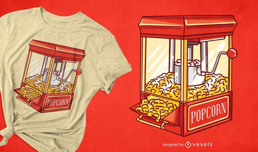 Diseño de camiseta de máquina de palomitas de maíz.