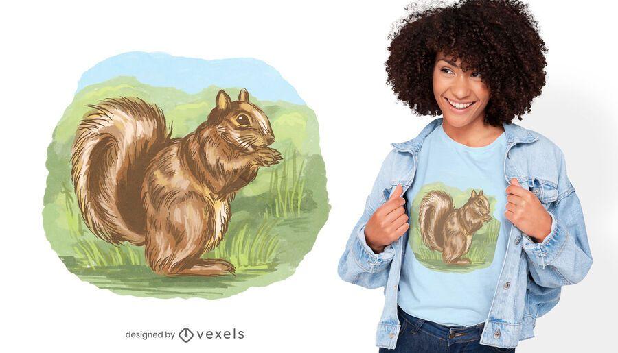 Esquilo fora do design da camiseta
