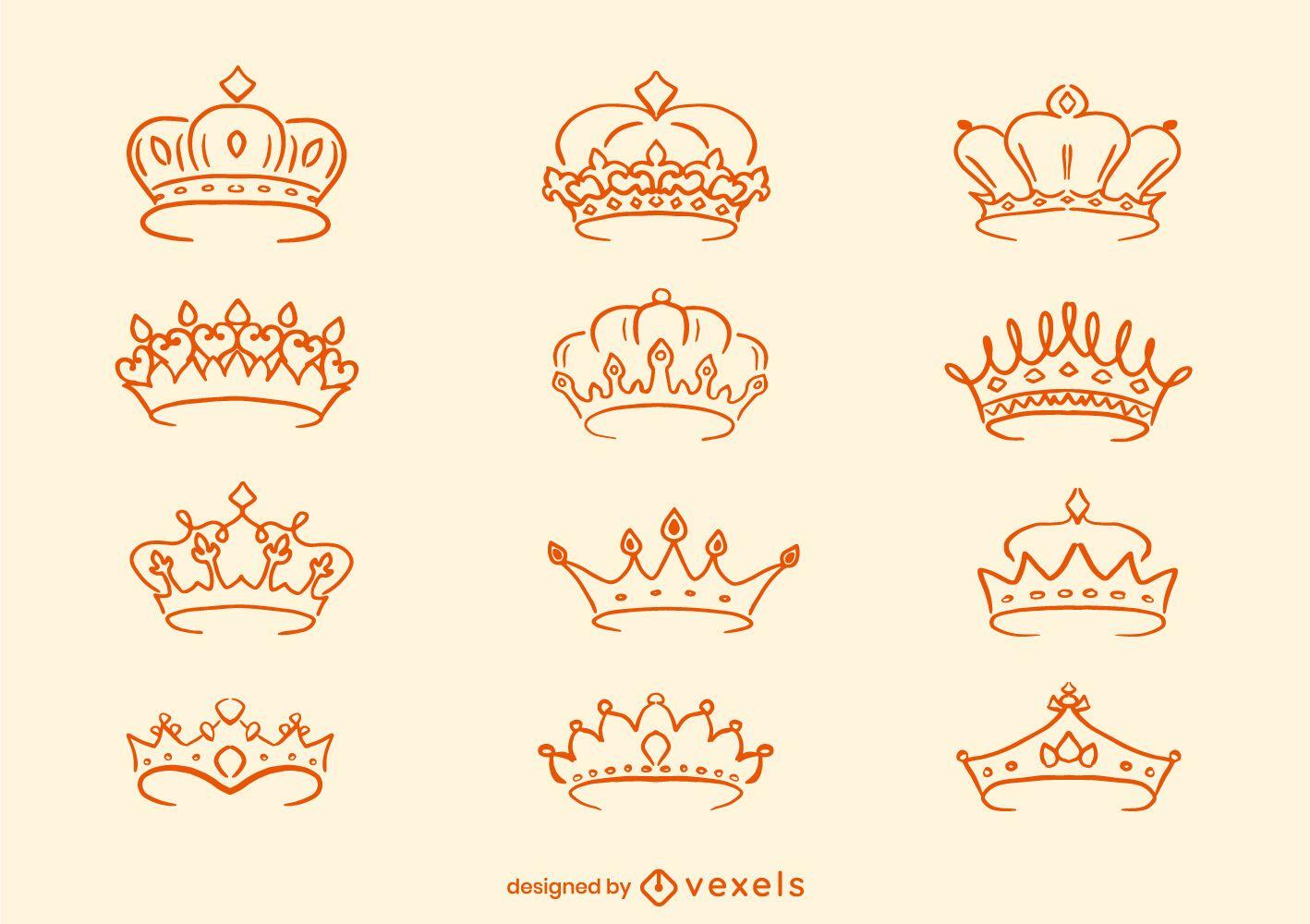 Conjunto de arte em linha da coroa da realeza