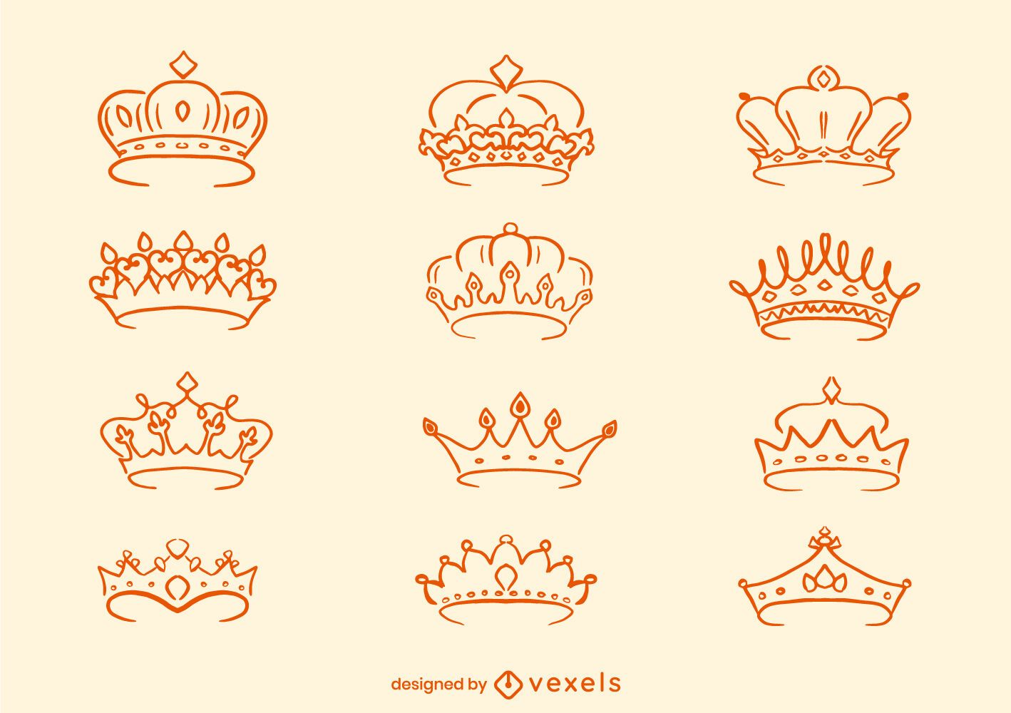Crown royalty line art set