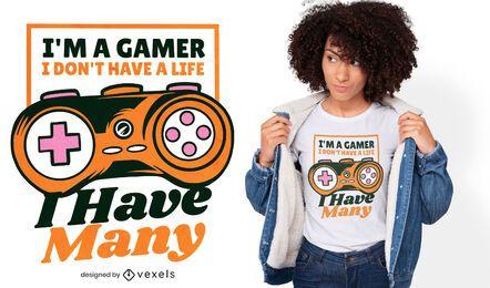 Design de t-shirt de citação de vida de jogador