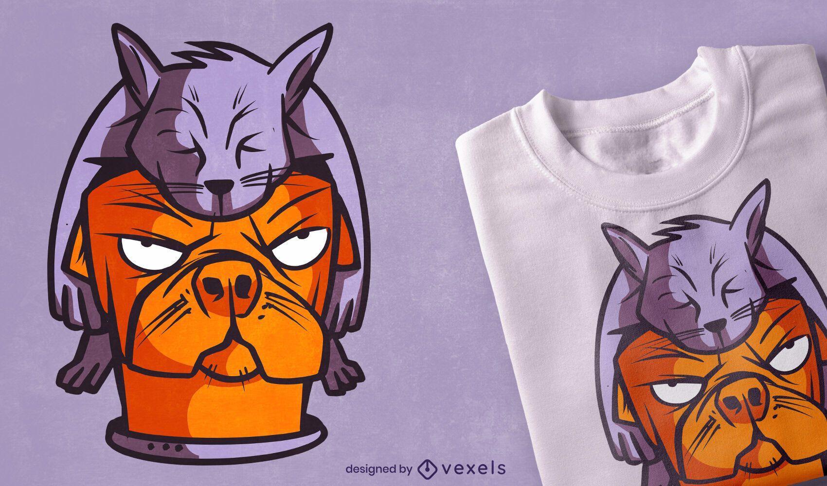 Cat on dog cartoon t-shirt design