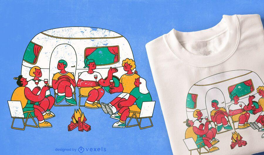 Diseño de camiseta de fogata de gente de camping.