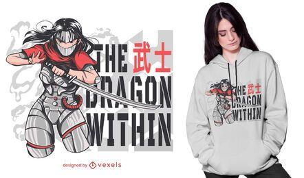 Diseño de camiseta cyborg ninja anime girl