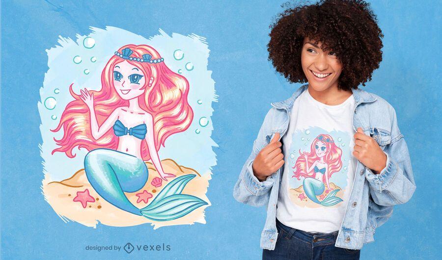 Diseño de camiseta linda chica sirena