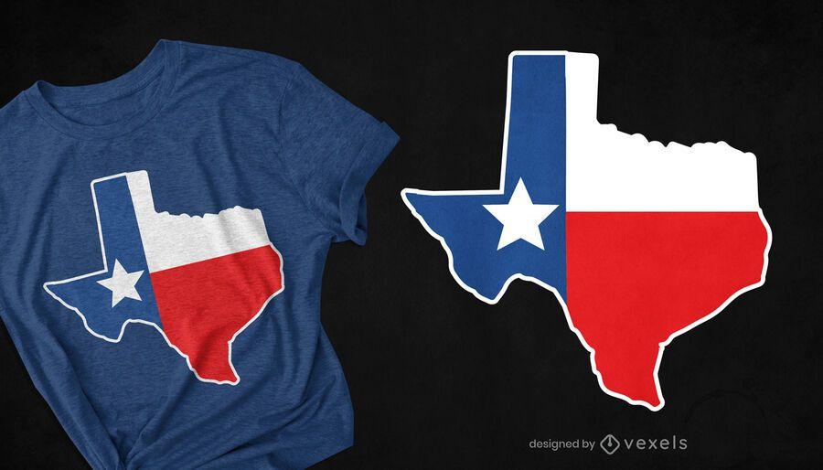 Design de t-shirt da bandeira do mapa do Texas