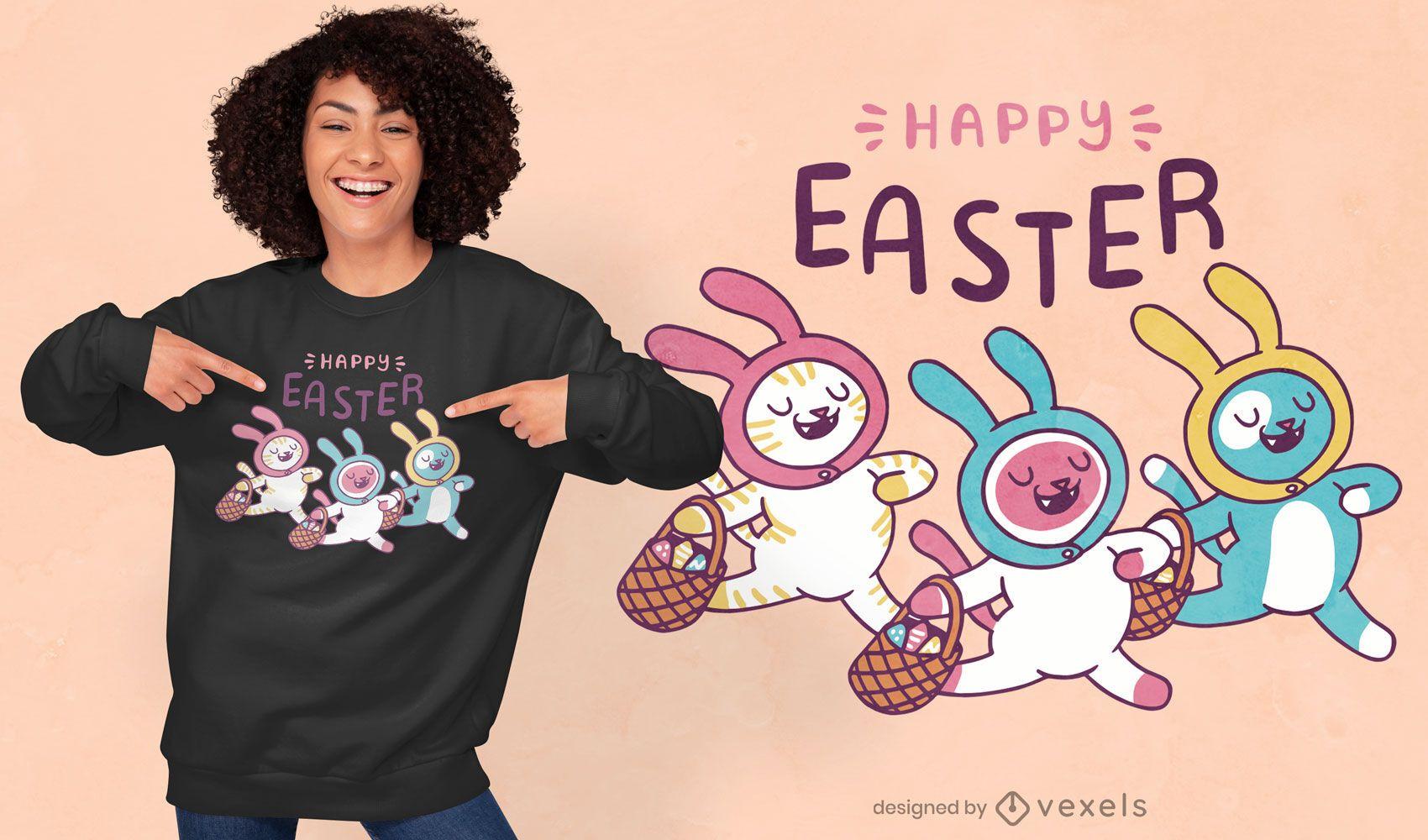 Design de t-shirt de citação de gatinhos de Páscoa
