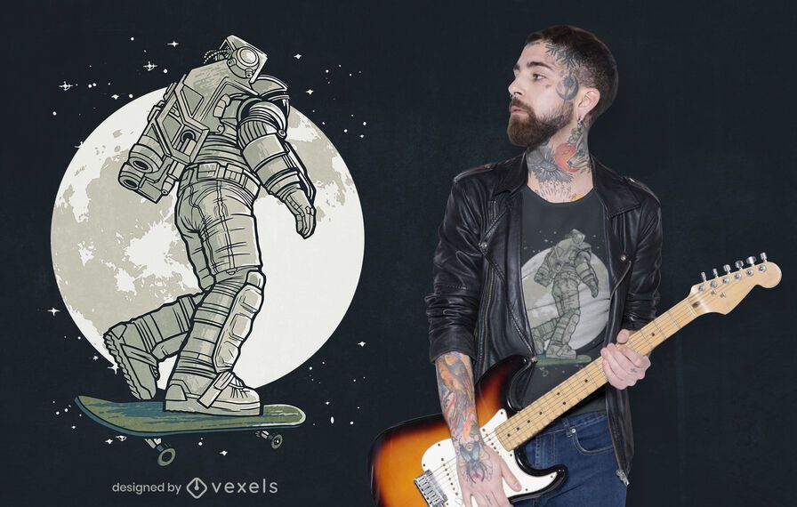 Design de camiseta lua astronauta skatista